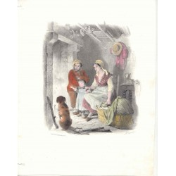 Familia de aldeanos' Drawn F. Granier. Lithographed by Formentin & Cie