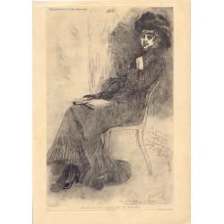 »Celle qui fait celle qui lit musset» 1879. Dibujó Felicien Rops (1833-1898)