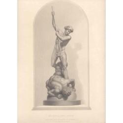 «Michael and Satan» grabado porW. Roffe sobre un grupo de marmol por Flaxman