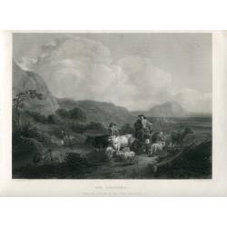 «The Herdsman» Grabado por J.W. Allen de un cuadro de Nicolas Berghem.