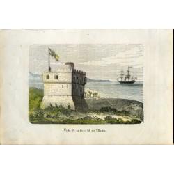 Vista de la torre del rio Martin' Fuerte Martin en la desembocadura del rio Martin en Tetuan