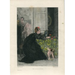«The young widow» grabado por J. Desmoulins sobre obra de Alfred Stevens