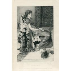 «Quiet pets» grabado por C.G. Murria sobre obra de Alma Tatema.