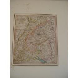 Charte vom Konigreich Wurtemberg Baden bei Joh Walch en 1812