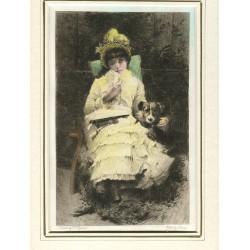 «Joven dama con perro» grabado  coloreado, por A. Lalauze de un cuadro de G.S. Seymour