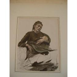 «Madre con niño»  Litografía coloreada de Hubert Herkomer, (1849-1914), firmafo y fechado en plancha 85