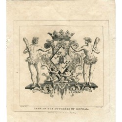 Engraving 'Arms of the Dutchess of Kendal' grabdo por T. Cook after Hogarth