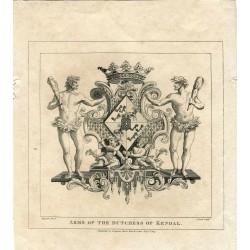 Grabado «Arms of the Dutchess of Kendal» grabdo por T. Cook sobre obra de Hogarth