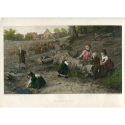 «Children at play» grabado por Th. Lander sobre obra de Ludwig Knaus en 1873