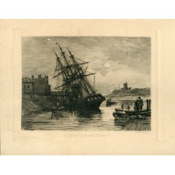 Inglaterra. Bristol. 'A Collier in Bristol harbour' grabado por M.W.Ridley. Publicado por The Art Union of London.