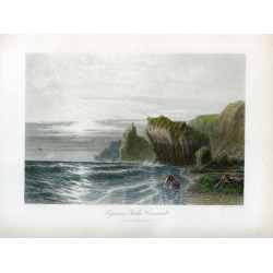 Inglaterra. Cornwall «Kimance Rocks» grabado por S. Bradshaw sobre obra de J.L. Logford