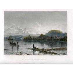 Inglaterra. Jersey. «Sunset St. Helliers» grabado en 1860 por J. Saddler sobre obra de A. Clint