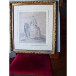 «D. Margarita de Austria» Grabado original de Goya sobre obra de Velazquez