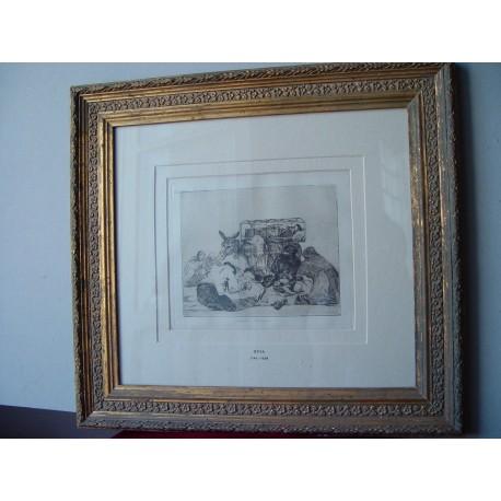 «Extraña devoción» Grabado original   de la serie los Desatres de la Guerra de Goya. Nº 66. 3ª tirada