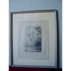 «Linda maestra» Grabado original de la serie los Caprichos de Goya. Nº 68