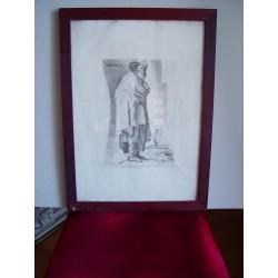 «Menipo» Grabado original de Goya sobre obra de Velázquez