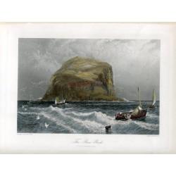 Escocia. «The Bass rock»  grabado por John Godfrey 1870 sobre obra de Birket Foster
