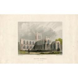Inglaterra. «Chester Cathedral» grabado por B.Wilkie sobre obra de B. Baud 1840