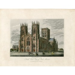Inglaterra. York. «South West view of York Minster» grabdo por Steel sobre obra de H. Cavé.