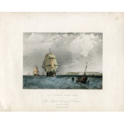 Inglaterra. «The North Foreland» grabado por R. Branard sobre obra de G. Chambers. 1834