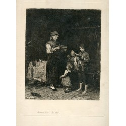 Home from school' Engraved by Michael de Munkacsy y William Unger.