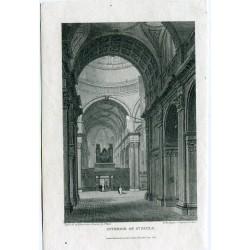 Londres. 'Interior St. Pauls' grabado por Hobson de un dibujo de J. P. Neale en 1816