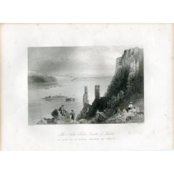 Austria. 'The Nuns Tower- Castle of Theben' grabado por W. H. Barlett