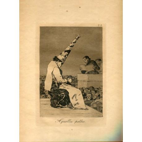 FRANCISCO DE GOYA «Aquellos polbos» Grabado original nº 23 de los Caprichos. Calcografía Nacional.